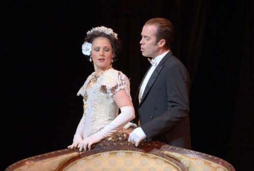 Leah Partridge (Violetta) and Vale Rideout (Alfredo) In Act I of Eugene Opera's La Traviata